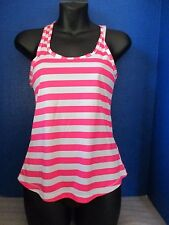SOFFE~Pink & White Striped ATHLETIC RACERBACK TANK TOP SHIRT~Women's XS
