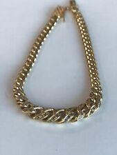 18k Heavy Solid Gold & 0.60 Diamond Miami Cuban Link bracelet   7 Inch 9MM - 4MM