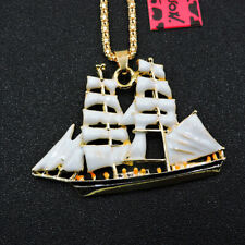 New White Enamel Cute Sailboat Pendant Betsey Johnson Chain Necklace