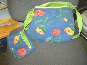 Claiborne Handbag Zippered, Blue & Green Floral with Strap  Purse Liz Claiborne