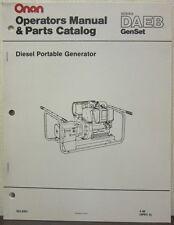 Onan DAEB Series GenSet Diesel Portable Generator Operator's Manual & Parts Cat.