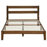 SLEEPLACE 12 inch Wood Platform Bed with Headboard, Full,Queen,King