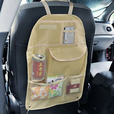 Beige Car Tail Rear Seat Organizer Holder Multi-Pocket Travel Storage Bag Hanger