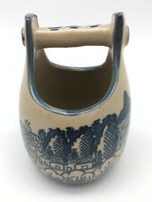 Hand Painted Japanese IMARI Pail.  Blue & White w/ Brocade Arched Handles.