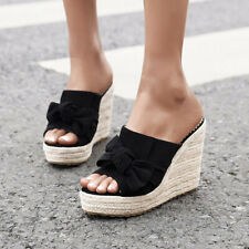Women Bow Slip On High Heel Sandals Thick Bottom Sandals Wedge Beach Slippers