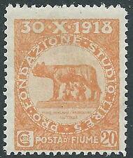 1919 FIUME FONDAZIONE STUDIO 20 CENT MNH ** - F13-6