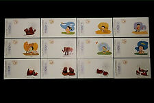 1996 China Official Set of 12 Year of the Rat Cards Numbered Mint
