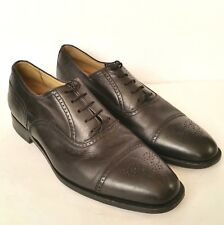 Hickey Freeman Black Leather Cap Toe Brogue Dress Oxfords Mens 11.5 Shoes Italy