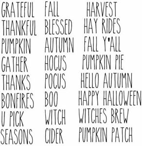 Autumn, Fall,  31 Words Decals, Rae Dunn Inspired Vinyl Decals, Farmhouse Decor