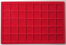VASSOIO 40 CASELLE 34x34 mm per Monete Medaglie in Floccato rosso MASTERPHIL