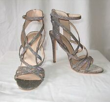 NEW LOOK - Silver Glitter High Heel Shoes with Ankle Straps - Size 7 NEW