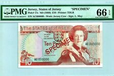 "1989 Jersey £10 ""Specimen"" PMG66 EPQ GEM UNC <P-17s>"