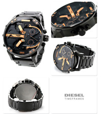 NEW DIESEL DZ7312 MR. BIG DADDY 57MM BLACK ROSE GOLD STAINLESS STEEL MENS WATCH