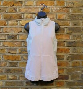 Lululemon Women's Pale Pink & Grey Sleeveless Vest Gym Workout Zip Top Size UK 6