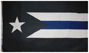 Puerto Rico Thin Blue Line Police 100D Woven Poly Nylon 3'x5' Flag Banner (RUF)