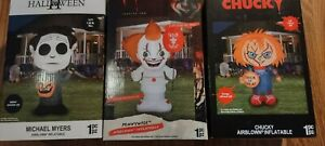 Set of 3 Halloween 5 FT. Airblown Inflatables Chucky, Michael Myers & Pennywise
