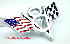 V8 Flag Emblem Metal Chrome Car Body Tail Fenders Badge Decal Sticker For Chevy