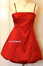 KAREN MILLEN Red Satin Straps Bubble Folded Back Detail Prom Dress Size 14 NEW