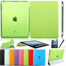 Cover IPAD 2 3 4 Protective Case Pu-Leather Smart Cover+Back Green
