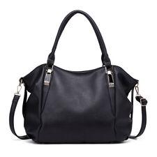 Women PU Leather DESIGNER Handbag Lady Shoulder Bag Structured Tote Satchel Black S1716