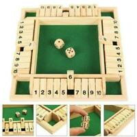 Neu Shut the Box Spiel Holzbrett Nummer Trinkwürfel Spielzeug Familie Traditione