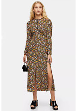 Topshop Vintage Floral Piped Midi Dress Size 8 BNWT