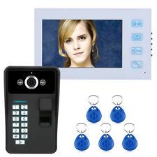 """7"""" TFT Fingerprint Recognition RFID Video Door Phone Night Vision CCTV Camera"""