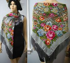 """Russian Ukrainian Gypsy Shawl Floral w/Fringes 49""""/125cm Gray 80%Wool NWT #98k"""
