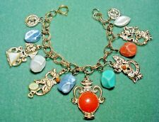 Vintage Egyptian Revival Chunky Charm Bracelet Lucite Pyramid Sphinx Urn Dragon