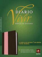 Biblia de Estudio del Diario Vivir NTV , Imitación piel rosado/café