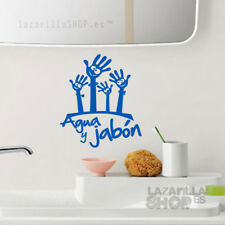 AGUA Y JABÓN Pegatina para baño de niño familia Sticker WC Vinilo aseo infantil