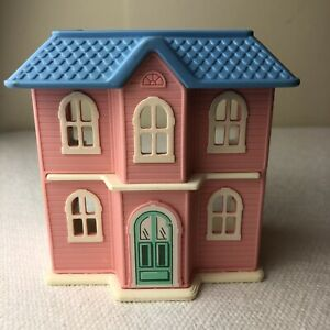"4"" Vintage Little Tikes Mini Pink Blue Dollhouse HTF"