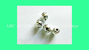 Antique Silver (tone) Drum Spacer Beads 6 mm x 5 mm, Hole - 1.5 mm, ( 10 pcs )