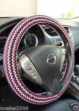 Handmade Steering Wheel Cover Red Black and White Chevron Zig Zag