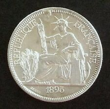 1895 SILVER TRADE DOLLAR FRENCH INDO-CHINA PIASTRE WORLD COIN