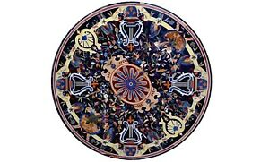 "36"" Pietra Dura Inlay Parrot Art Black Marble Top Dining Table Garden Decor B567"