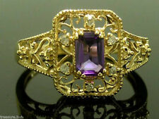R104- Genuine 9ct Solid Gold NATURAL AMETHYST & DIAMOND Filigree Ring size N