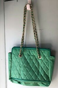 Vintage Capezio Tote Shoulder Bag Quilted Gold Chain Strap vinyl Green