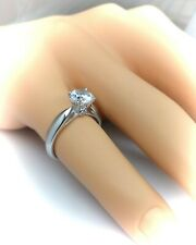 (Sophia) Sterling silver solitaire engagement ring.Hallmarked 925 size Q (#1}