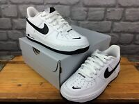 NIKE UK 3 EU 35.5 AIR FORCE 1 LV8 WHITE BLACK SWOOSH TRAINERS CHILDRENS LADIES C