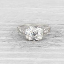Cocktail Edwardian Engagement Ring 3.00 Carat Cushion Cut Diamond In 925 Silver