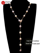 Round Purple Edison Pearl & 9K Rose Gold Women's Necklace And Bracelet Set-n6452