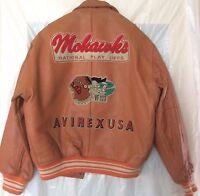 NOS Vintage 1990 Avirex Varsity Leather Jacket  Solid Orange - Size Large