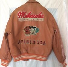 NOS Vintage 1990 Avirex Varsity Leather Jacket  Solid Orange - Size Large