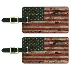 Rustic American USA Flag Distressed Luggage ID Tags Carry-On Cards - Set of 2