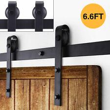 6.6FT Sliding Barn Door Hardware Kit Modern Closet Hang Style Track Rail Black