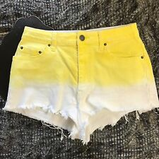 Urban Outfitters BDG High Rise Cheeky Denim Ombre Yellow white shorts sz 30 (N)