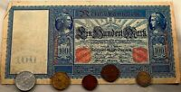 Germany, 100 Mark Paper Money Currency, 1908 with Five Coins