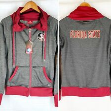 Florida State University Full Zipper Jacket M Gray Garnet Fleece Embroidered NEW