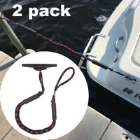 4 Pack Gray Bungee Dock Lines Boat Ties to Dock Line-Perfect for Boat 3.5-5.5 ft
